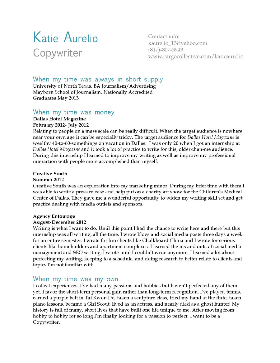 advertising copywriters resume portfolio
